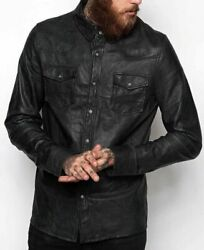 Masculine Edge Design Stretchy Mens Black Waxy Real Leather Western Shirt