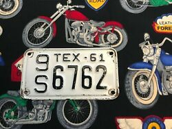 1961 Texas Motorcycle License Plate 9s6762