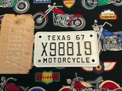 1967 Texas Motorcycle License Plate X98819