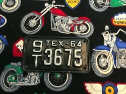 1964 Texas Motorcycle License Plate 9t3675