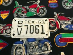 1963 Texas Motorcycle License Plate 9v7061