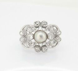 .antique 14k White Gold 0.62ct Pearl And Diamond Cluster Ring Size K Val 4665