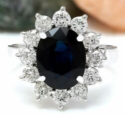 11.22 Ct Oval Cut Natural Sapphire Real Solid 14k White Gold Diamond Ring