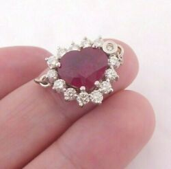 18ct Gold 1.33ct Diamond 3ct Ruby Cluster Clasp 6.6 Grams