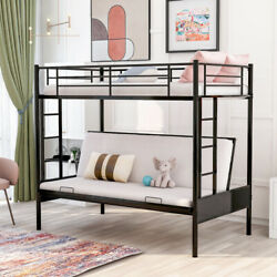 Twin Over Full Metal Bunk Beds Futon Frame Metal Sofa Bed For Kids Adults Black