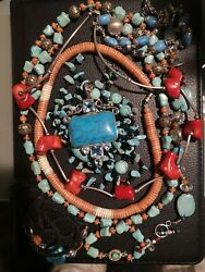 Silver Coral And Turquoise Joblot Vintage Silver Turquoise And Coral Jewellery