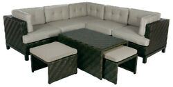 8 Piece Patio Furniture Set-5pc Sectionalcoffee Table2 Ottomans-can Deliver