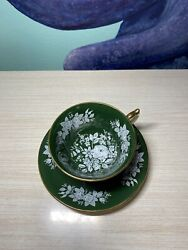 Aynsley Fine English Bone China Tea Cup And Saucer Dark Emerald Green And Gold