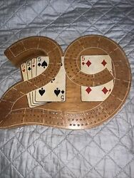 Vintage Wood Cribbage Board 29 Everytime With Pegs And Cards Toy Game Old