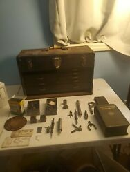 Antique Rare Union Co. Drawer Wood Machinist Tool Chest - See All Pics For Tools