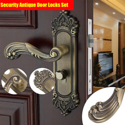 New Retro Entry Lever Door Lock Set Handle Home Knob Lockset W/ Key Green Bronze
