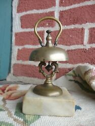 Antique 19thc Victorian Brass Marble Base Hotel Desk Counter Bell Pat Date 1858