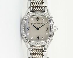 .auth David Yurman Thoroughbred Sterling And Steel Diamond Mop Dial Watch B+p T304