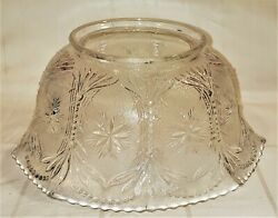 Antique Victorian Pressed Glass Eapg Gas Banquet Lamp Shade Pearl Daisy Fan