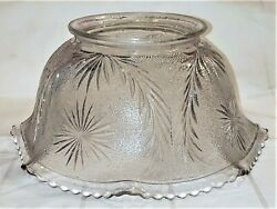 Antique Victorian Pressed Glass Eapg Gas Banquet Lamp Shade Starburst With Fan
