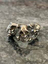 Rare Unique Antique 925 Sterling Silver Lions Skull Ring Size 8 Wt 9.16 Grams