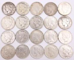 20x Peace Silver Dollars 16x1922 And 4x1923 Circulated 20 Coins