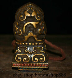 5.2 Old Tibet Buddhism Copper Gilt Crystal Hand Made Seal Stamp Signet Statue