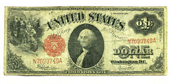 1917 Series 1 One Dollar Red Seal Large Size Currency Note
