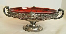 Meriden Silverplate Bowl With Red Glass Liner Rams Heads