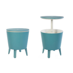 Teal Table And Cooler In One, Outdoor Accent Bbq Patio Deck Pool, Cool Bar Resin