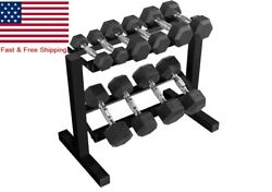 Cap Barbell 150pound Dumbbell Set With Steel Rack Black Frame Horizontal 2 Layer