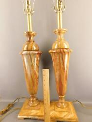 Mid-century Neoclassical Urn Onyx Pair Of Table Banquet Lamps Warm Earth Tone