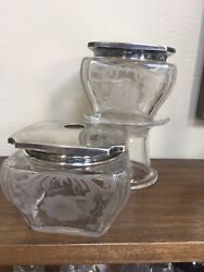 Gorham Sterling And Crystal Dresser Jar And Hair Receiver Fabulous