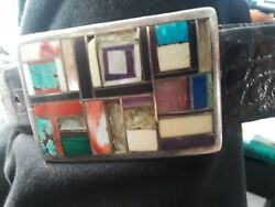 Navajo Yellowhorse Sterling Silver Buckle Very Rare Awesome Inlaid