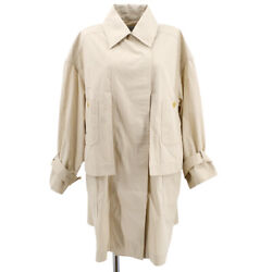 Cc Logos Button Long Sleeve Trench Coat Jacket Beige Authentic 32721