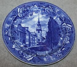 1899 Wedgewood Blue Transfer Ware Plate Old North Church