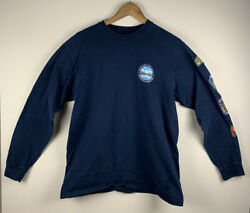 Vans Off The Wall Small Blue Long Sleeve T Shirt Skateboarding Classic Fit *FLAW