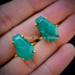 50 Pcs New Lot Green Emerald Coffin Gold Brass Plated Statement Jewelry Ring Cr4