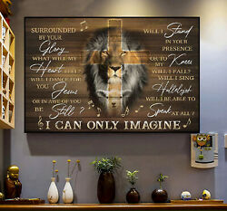Surrounded By Your Glory Lion Lamb Cross Christian Easter Decor Poster No Frame