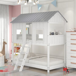 Twin Over Twin Bunk Bed House Bed With Windows Twin House Bed Low Loft Wood Bed