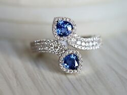 14k Gold Pear Cut Untreated Certified Art Deco Sapphire Diamond Engagement Ring