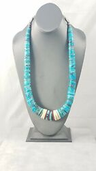 Vintage Santo Domingo Hand Rolled Turquoise Heishi Sterling Silver Necklace 1950