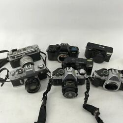 Assorted 7 Vintage Canon, Yashica, And Contax Film Cameras. Ae-1 Pro, 167mt