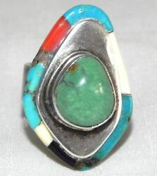 Signed Ray Sterling Silver Turquoise Cabachon Ring Navajo Sz 9 Onyx Coral Inlay