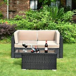 3pcs Outdoor Patio Sectional Furniture Sofa Set Rattan Wicker W/ Cooler Table