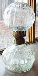 Old Antique Floral Pattern Pressed Glass Miniature Oil Lamp W/ Matching Shade