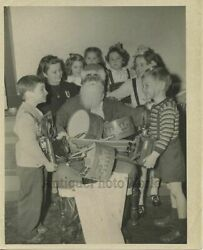 Children W Cameras And Santa Claus With Presents Antique Photo