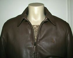 Menand039s 598. L Polo- Brown Leather Windbreaker Jacket