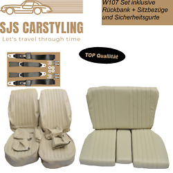 Seat Covers + Back Seat + Seat Belts For Mercedes Sl R/w107, Parchment