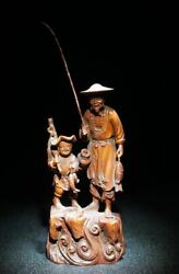 Collectable Natural Boxwood Figures Carved Fisher Statue Md244