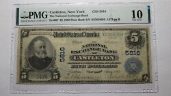 5 1902 Castleton New York Ny National Currency Bank Note Bill Ch. 5816 Pmg