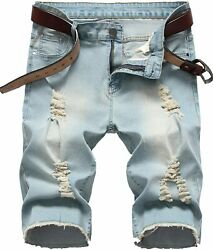 Denim Shorts For Men Summer Vintage Washed Ripped Distressed Straight Fit Knee L