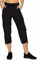 Rbx Active Womenand039s Fashion Lightweight Woven Drawstring Cargo Capri Pant With Po