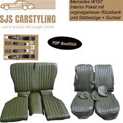 Seat Covers + Back Seat Foldable + Seat Belts D.green For Mercedes Sl R/w107