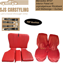 Seat Covers + Back Seat Foldable + Seat Belts For Mercedes Sl R107, Red